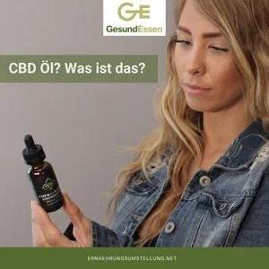 Hanf pflanze im Hintergrund - Vorn der Schriftzug CBD Öl - Was ist das?
